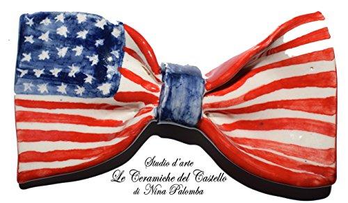 Fliege Keramik Flag Linie USA Piece Unique Hergestellt und von Hand bemalt Le Ceramiche del Castello Made in Italy Maße: 9.5 x 5.5 (Hergestellt Kostüme Usa Den In)