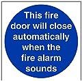 vsafety Gebotszeichen, automatische Fire Tür, starrer Kunststoff, quadratisch