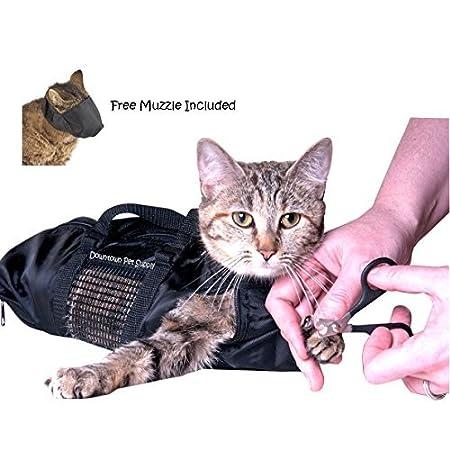 Downtown Pet Supply Fellpflegetasche, mittelgroß, inkl. Maulkorb für Katzen