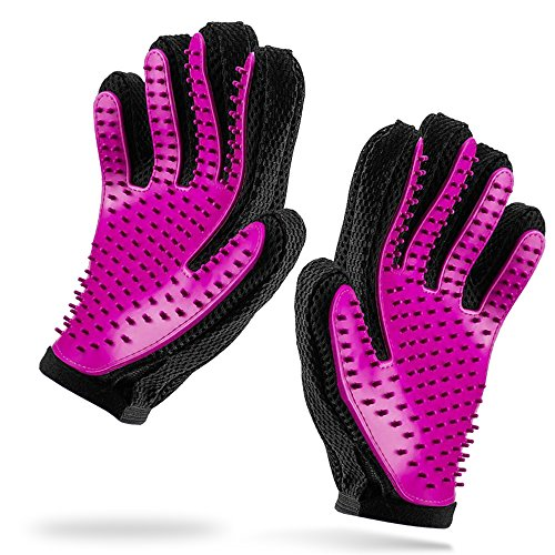 iHOY 2PCS Pet Bürste Handschuh, Haustier Grooming Bürsten Deshedding Glove Massage Hund Badehandschuh Katze Petting Handschuh für Katzen Hunde - Rosa