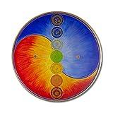 """Wandbild Yin Yang mit Chakras """"Harmonie im Ganzen"""" - Größe 80 cm rund - handgemalt mit Acrylfarbe auf Leinwand - gespannt auf runden Keilrahmen"""