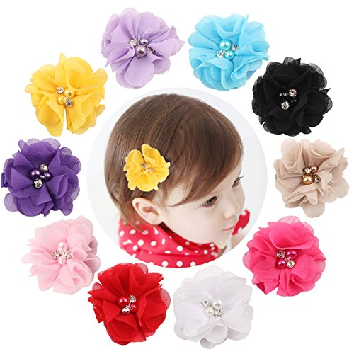 dooppa 10 Chiffon Blumen Baby Mädchen Haar Clips Snap Alligator Clips Haarspangen (Blume-haar-clips Für Mädchen)