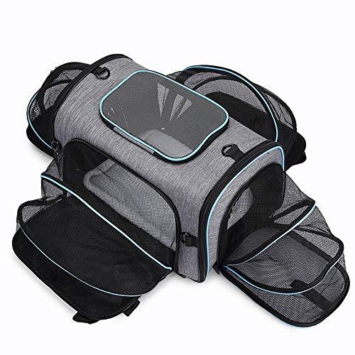 PET HOUND Petsfit Stoff Faltbare Hundetasche, Haustier-Reisetasche, Oxford Tuch tragbare Falten, Katze und Hund mit großer Kapazität, Haustier erweiterbar Tasche,Grau
