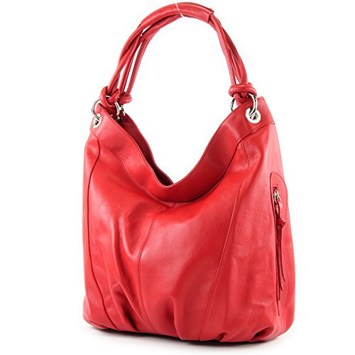 modamoda de - Made in Italy Sac à main italien sac femme porté à l'épaule en cuir sac en cuir souple Z18, Präzise Farbe (nur Farbe):Rot