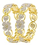 YouBella Jewellery Traditional American Diamond Wedding Party Wear Gold Plated Bracelet Bangle Set for Girls and Women (2.6)