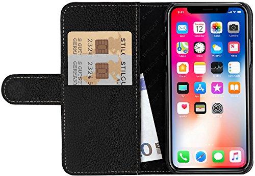 StilGut Leder-Hülle für Apple iPhone XS/iPhone X mit Karten-Fächer, Schwarz