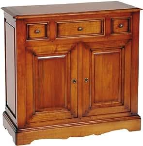 Meuble d'entrée merisier 2 portes 3 tiroirs