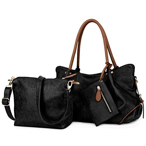 UTO Damen Handtasche Set 3 Stücke Tasche PU Leder Shopper klein Schultertasche Geldbörse Trageband schwarz (Kosmetik-geldbörse-set)