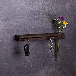 Schlüsselbrett Holz mit Blumenvase, 30cm - viele Varianten/Holzarten (in Bayern handgefertigt) Schlüsselhalter Nuss/moderne Schlüsselleiste als Board Schlüssel-Aufhänger/Nussholz