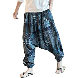 Zhuhaitf Pantalones Bombachos Hombre y Mujer Ropa Hippie Hombre Mujer Mens Harem Hippie Pants thai pants National Winds Linen Lightweight Elasticated waist