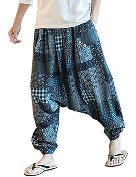Zhuhaitf Pantalones Bombachos Hombre y Mujer Ropa Hippie Hombre Mujer Mens Harem Hippie Pants thai pants National...