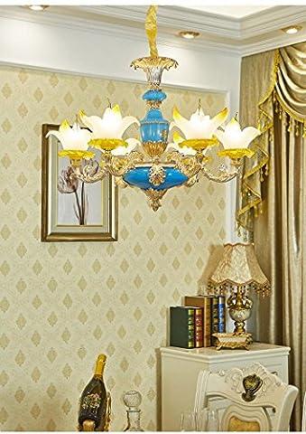 DG.99® Lustre en cristal français Salle de séjour en plein air Bâtiment duplex Villa Hotel Club Magnolia Flower Alliage de zinc Lampe européenne , 6