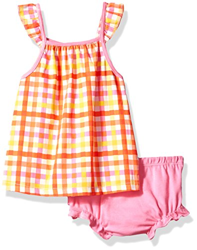 Isaac Mizrahi Baby Girls' 2 Piece Sundress with Diaper Cover, Coral Gingham, 12 Months