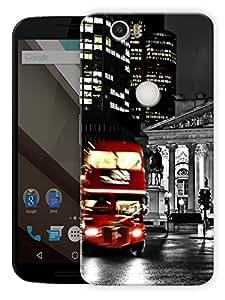 "Humor Gang London Street Bus Printed Designer Mobile Back Cover For ""Google Nexus 6 Plus"" (3D, Matte Finish, Premium Quality, Protective Snap On Slim Hard Phone Case, Multi Color)"