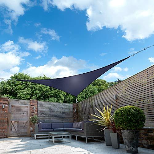 Kookaburra tenda a vela blu impermeabile protezione anti raggi 98% uv per ombreggiare il giardino, terrazzo o balcone (triangolare 5,0m)