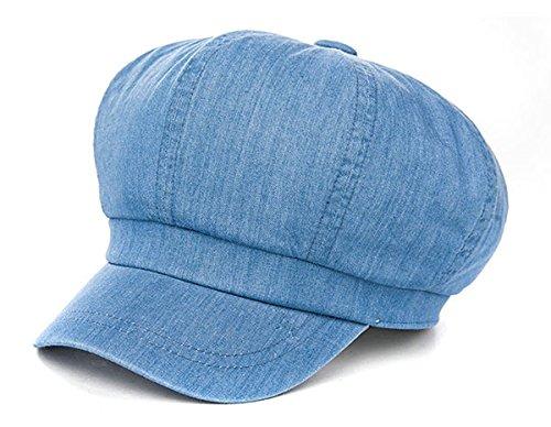 Siggi Femmes Béret Coton Casquette Bonnet Été Chapeau de Soleil Cloche Visière Printemps 69010_Bleu