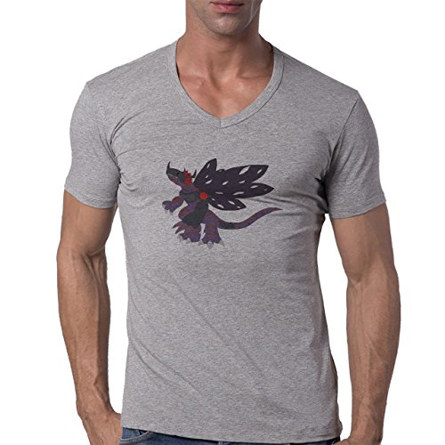 Digimon Agumon Greymon Wargreymon Wargreymon Wings Black Purple Herren V-Neck T-Shirt Grau