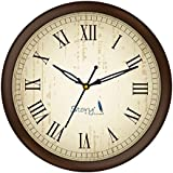 Story@Home Round Shape Plastic Modern Wall Clock with Glass for Home/Kitchen/Living Room/Bedroom/Office - 10 in, Brown