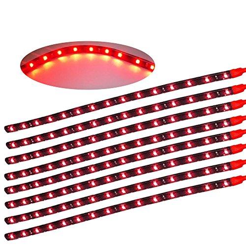 Preisvergleich Produktbild XINBAN LED Neonlichter Streifen Auto 8x 30cm 15SMD LED Auto Innenbeleuchtung Streifen Strip Leiste Lichterkette Wasserdicht 12V [Energieklasse A+] (Rot)