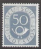 Goldhahn BRD Nr. 134 postfrisch ** geprüft 50 Pfennig Posthorn Briefmarken für Sammler