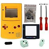 eJiasu Vollständige Ersatzteile Gehäuse Shell Pack Ersatz für Nintendo GBC Gameboy Farbe (Gelbes Gehäuse mit Linse und Schraubendreher)