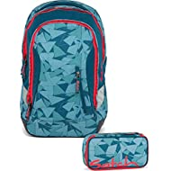 Satch Sac à dos d'écolier Set de 2accessoires avec Sleek Bleu pétrole Triangle 9D5dreiecke Bleu pétrole