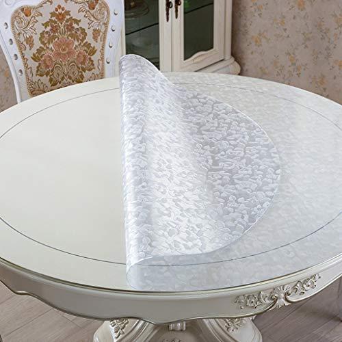 BOSSLV Küche Dinning Tischplatte Tischdecke Tischdecke Tischdecken Kunststoff Tischdecke PVC Tischsets Weiches Glas Rose Druckwasserdichtes Öl Mehrzweck Innen und Außen, Rund-130cm, Dicke-1,5 mm