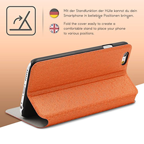 Urcover® iPhone 6 6S Hülle, Schutzhülle mit [ Stand-Funktion ] Flip Case Cover Etui Bookstyle Wallet für Apple iPhone 6 / 6S Farbe: Hell Grau Orange