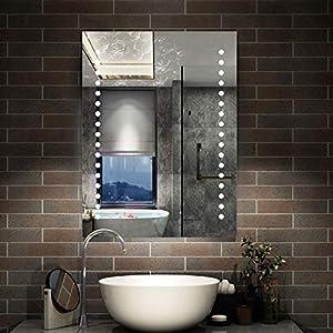 AICA Badspiegel LED 60×80 cm - Enegiesparend Dopple Touch Beschlagfrei - Wandspiegel mit Beleuchtung Stern Serie