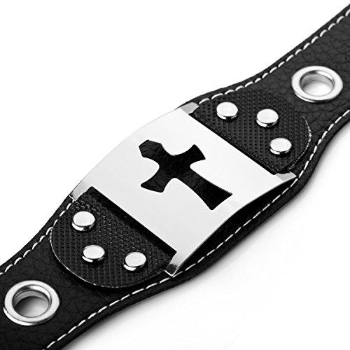 MunkiMix Acciaio Inossidabile Pelle Bracciale Braccialetto Bangle Polsino Argento Nero Croce Cintura Fibbia Punk Rock (Link Cintura)