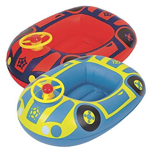 Baby Boot aufblasbares Kinderboot Schwimmboot Auto Schwimmhilfe Schwimmsitz (Rot)