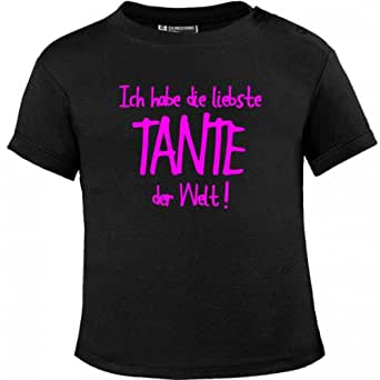 Mikalino Baby T-Shirt Ich habe die liebste Tante der Welt! pinkprint, Farbe:schwarz;Grösse:56/62