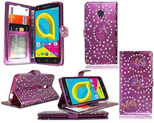 für Alcatel Onetouch Pixi 4 (5,0 Zoll) 4G Hülle, Kamal Star® Kunstleder Tasche PU Schutzhülle Tasche Leder Brieftasche Hülle Case Cover + Stylus (Rose Purple Diamond Book)
