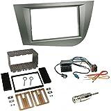 Einbauset : Autoradio Doppel 2-DIN Blende Radioblende grau / anthrazit + Quadlock - ISO Radio Adapter Adapterkabel mit Fakra Phantomseinspeisung + Antennenadapter für Seat Leon (1P/1PN) 09/2005 - 2010