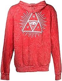 Hoodie à cheval Third Eye Triple Triangle Crystal Wash Red L