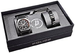 Reloj Police 90-PA-GUNBOXSET de cuarzo para hombre con correa de piel, color negro de Police