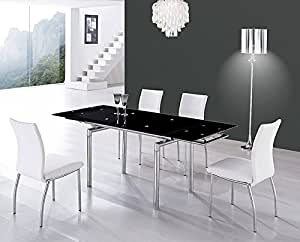 Table en verre extensible Liberty noire