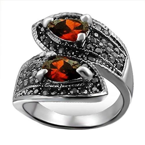 Atemberaubender Hochwertiger Fashion Ring aus Silber Legierung mit Rhodium Belag mit Echten Roten und Schwarzen Zirkonia Steinen - Inklusive Geschenkbox - Grösse Large (Durchmesser: 18,19 mm)