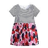 Kindermode Sommer Prinzessin Kleid Mädchen,Yanhoo Cartoon Print Gestreifte Tiere Kleidet Outfits Minikleid Festlich Kleid