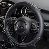 UKB4C Black Stitched Leather Look Steering Wheel Covers Universal 15 inch Breathable Anti-slip Wheel Sleeve Protector