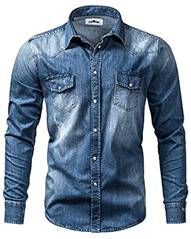 Crone Herren Langarm Jeans Hemd Neu