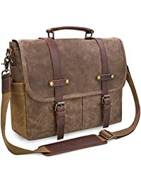 Mens Shoulder Waterproof 15.6 Canvas Laptop Messenger Bag Computer Briefcase Notebook Vintage Satchel School Work Bags