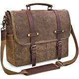 Newhey Mens Laptop Shoulder Canvas Messenger Bag Waterproof Computer Briefcase Notebook Vintage Satchel