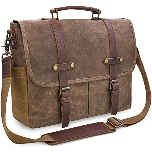 - 51Q4YNVK7yL - Newhey Mens Laptop Shoulder Canvas Messenger Bag Waterproof Computer Briefcase Notebook Vintage Satchel Designer School Work Bags Brown 15.6 Leather