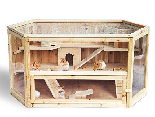 WOLTU HT2007 Cage de hamster Cage pour petits animaux,3 étages cage souris,cage de rat avec verre,Taille 60x115x58cm