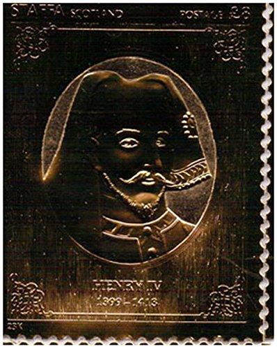 Gold-Briefmarken - Staffa 1977 Königin Silver Jubilee König Heinrich IV 23k Goldfolie Briefmarke - Hohe Qualität - nie montiert - Postfrisch (Set Sammlung Blatt König)