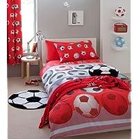 Single Bed Duvet Cover Set, Football Red / White / Black