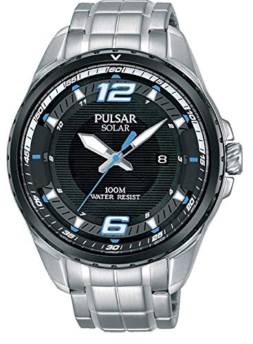 Pulsar Herren Analog Solar Uhr mit Edelstahl Armband PX3127X1 -