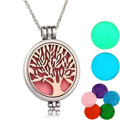 YOIL ✯☭Worth Buying Life Tree Pattern Parfüm Diffusor Anhänger Halskette mit 5 Refill Pads und 2 Leuchtkissen Set (Farbe : Antique Bronze) -