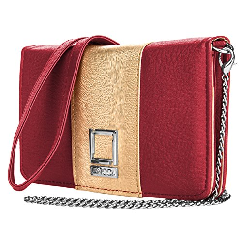 Price comparison product image Lencca Kyma Vegan Leather Crossbody Smartphone Clutch Wallet Purse with Removable Chain Shoulder Strap - Wine / Gold